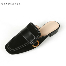 Lazy slippers for women wearing half-support single-soled flat-soled Leather Vintage square-headed cool trawl red-Baotou half-slipper shoes