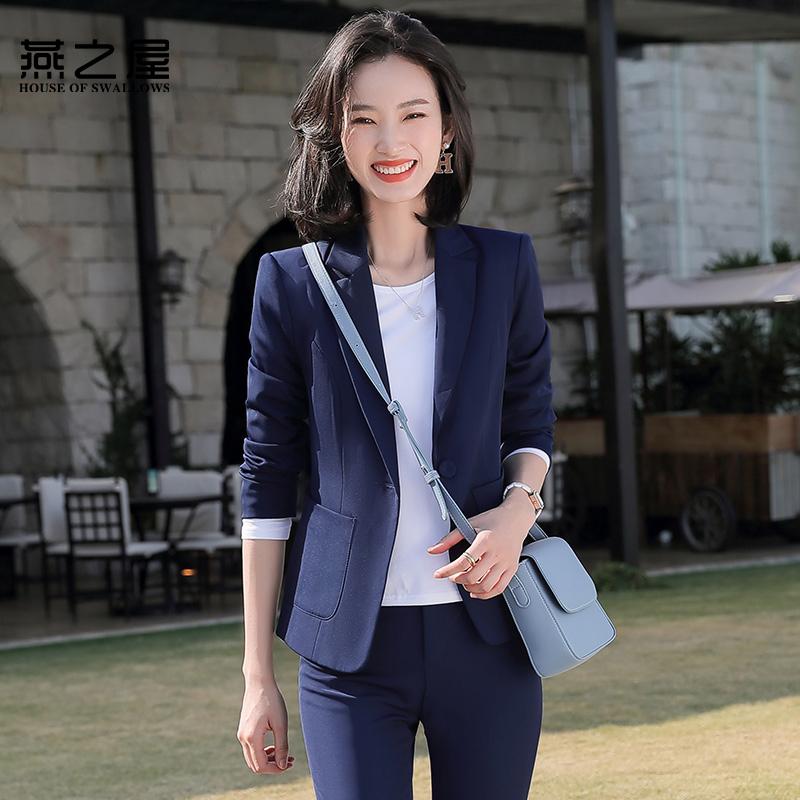 燕之屋黑色西装外套女2020春新款大学生面试正装上班职业套装工装