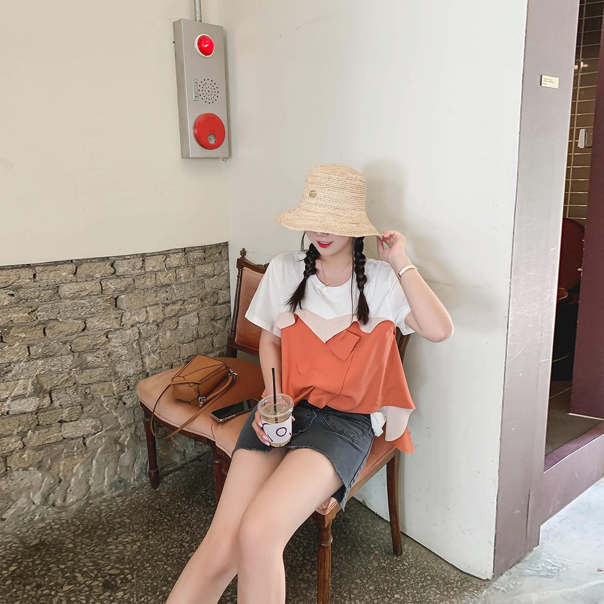 豆腐小姐大码女装遮肚减龄微胖t恤(非品牌)
