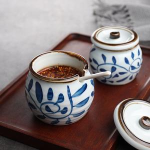 日式钩藤手绘带盖带孔罐子复古罐