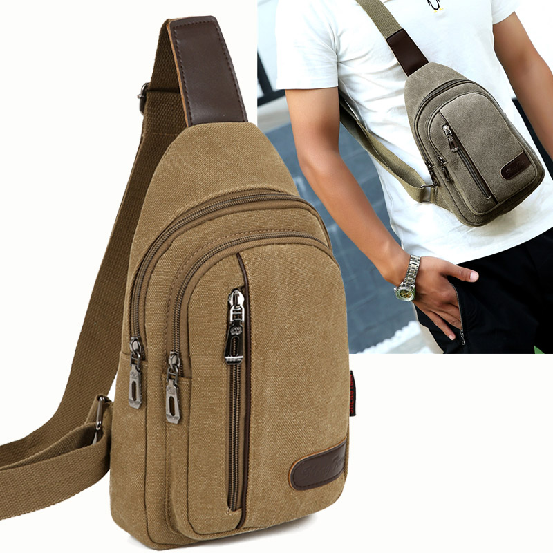 Mens bag casual single shoulder straddle small bag simple Korean fashion business canvas mens earth chest bag womens backpack vertical