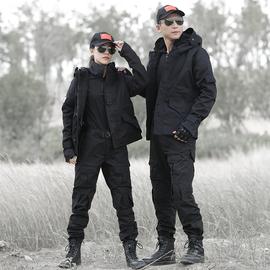 冬季迷彩服黑色军装套装男女户外冲锋衣特种兵作训服加绒战术外套图片