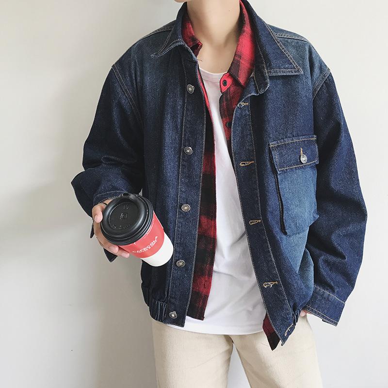 宽松大码青年学生牛仔外套春秋季新款男式印花水洗百搭夹克衫上衣