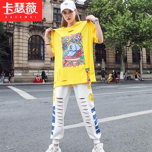 運動休閒套裝女2020夏季鬼步舞衣服時尚嘻哈街舞寬鬆韓版兩件套潮