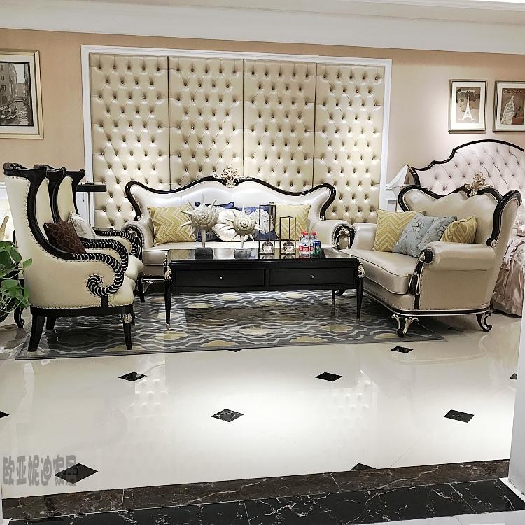 简约现代欧式黑檀木轻奢简欧风格家具小户型新古典现代真皮沙发