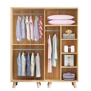 衣櫃實木簡易推拉門組裝家用北歐櫃子收納兒童出租房現代簡約衣櫥