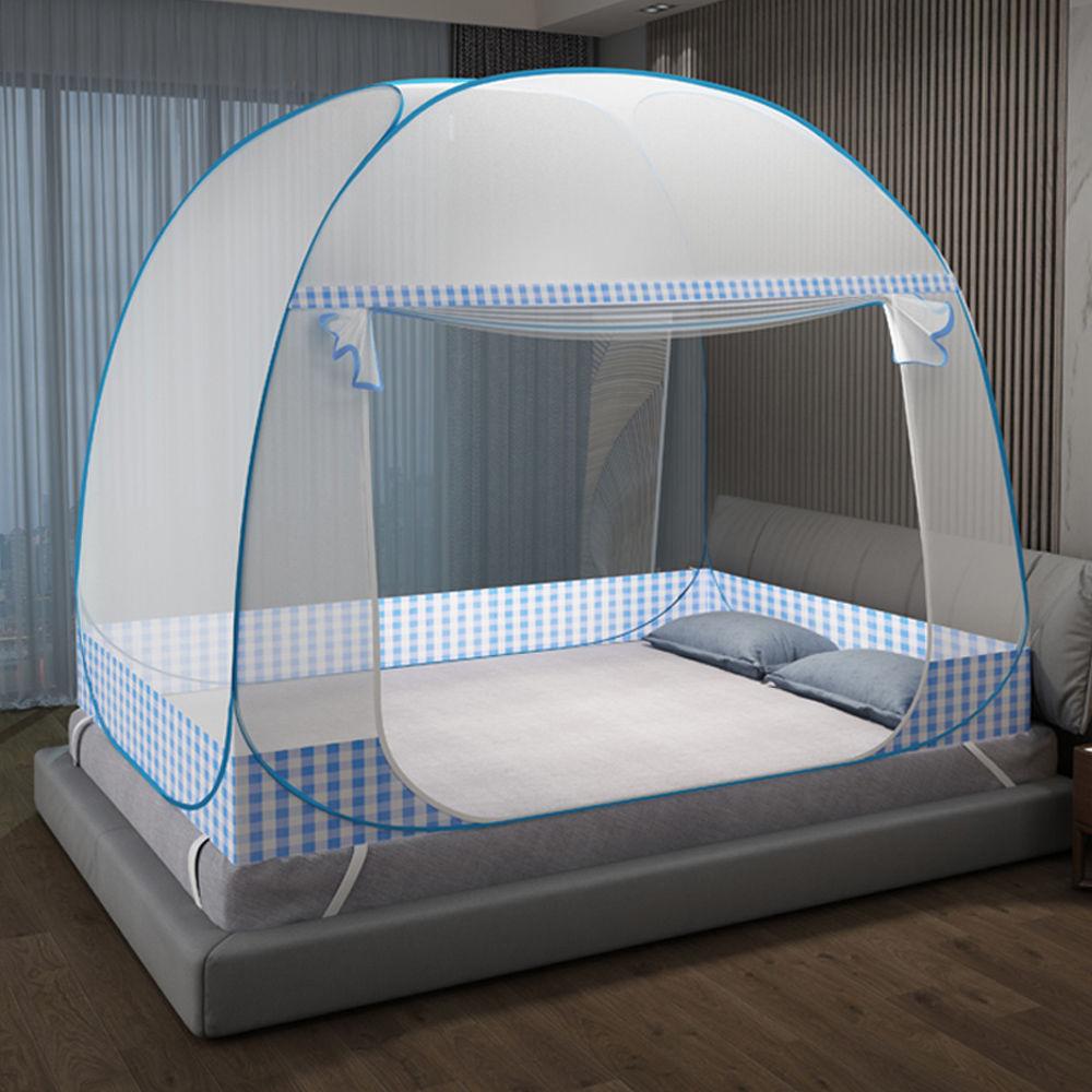 蒙古包蚊帐免安装双门1.5米双人床1.8m宿舍单人0.9m有底拉链蚊帐