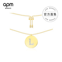 APM Monaco English letter necklace female ins simple couple round coin collar chain sweater chain neck chain