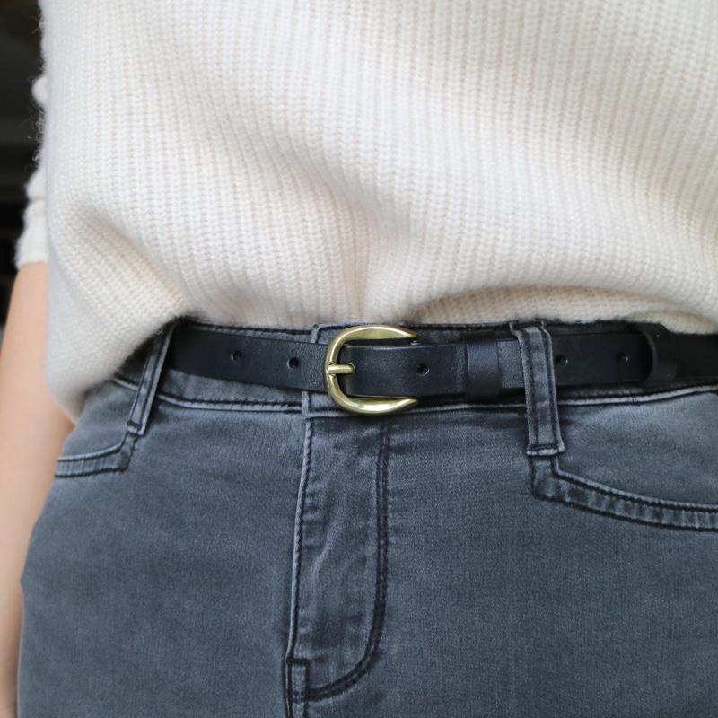 简约百搭休闲纯头层牛皮黑色细皮带女士复古针扣细腰带真皮窄裤带