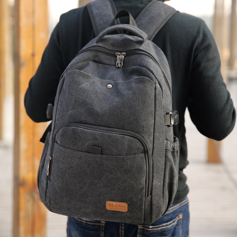Canvas computer bag Japanese and Korean retro leisure backpack traveling bag denim backpack high school students schoolbag men and women