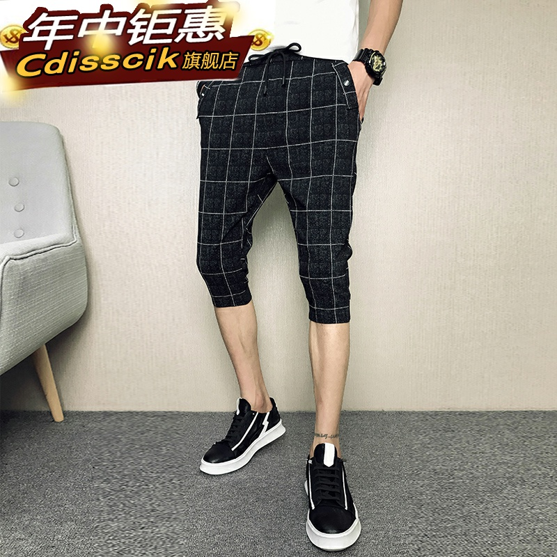 Shorts mens summer mens Plaid Capris spiritual social kids closing casual pants beach feet 6 pants