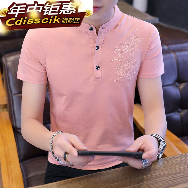 Trendy t mens T-shirt Korean sleeve shirt summer top cotton T-shirt semit-shirt mens short sleeve small ice silk