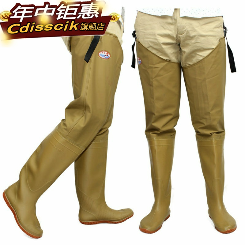 High tube over knee rain boots leather underpants leg pants men and womens water pants transplanting boots fishing water shoes wading underwater field shoes