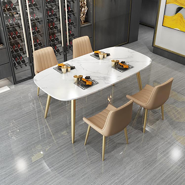 10-15新券北欧家用小户型白色圆角大理石餐桌