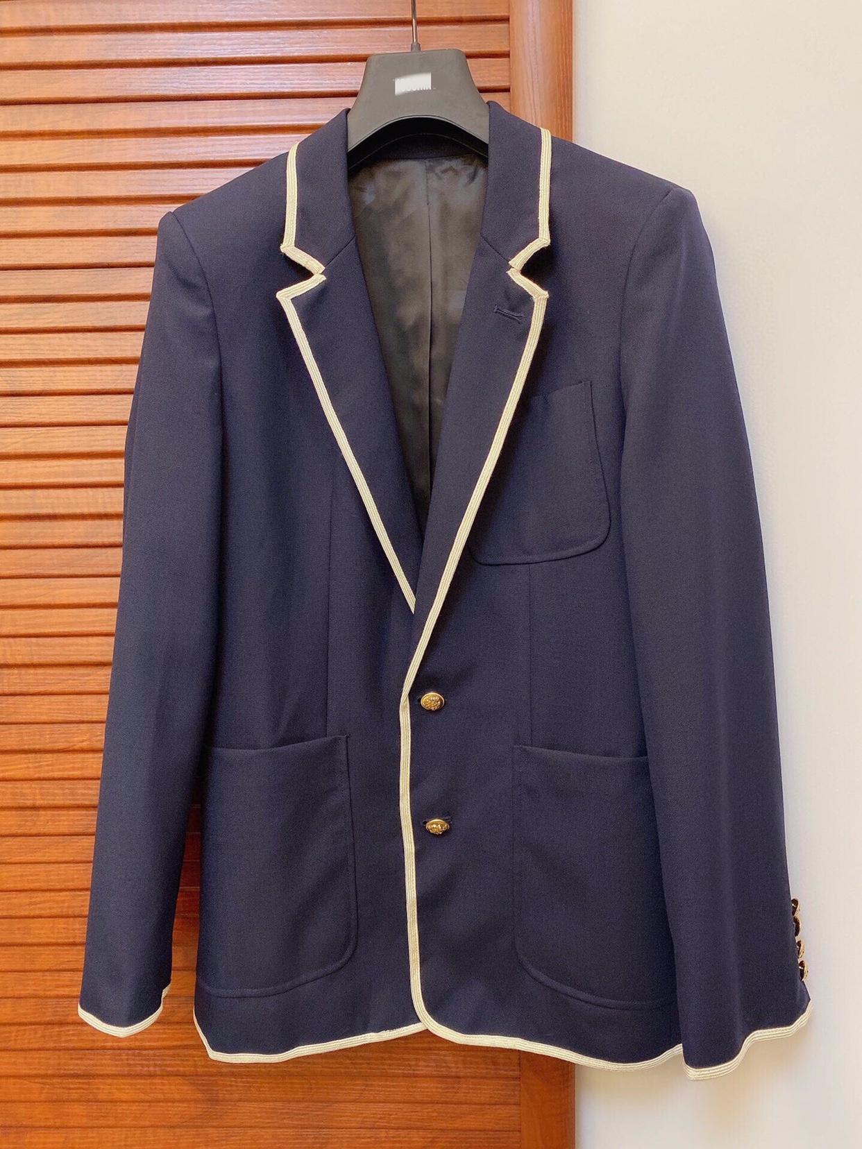 Simple, elegant and thin coat ~ classic casual Mohair contrast ribbon suit coat
