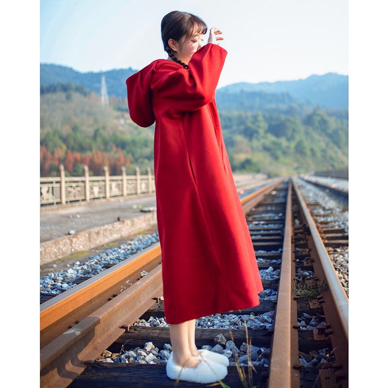 Mori womens little red cap cape coat womens Hepburn wine red wool coat womens middle long British style early winter