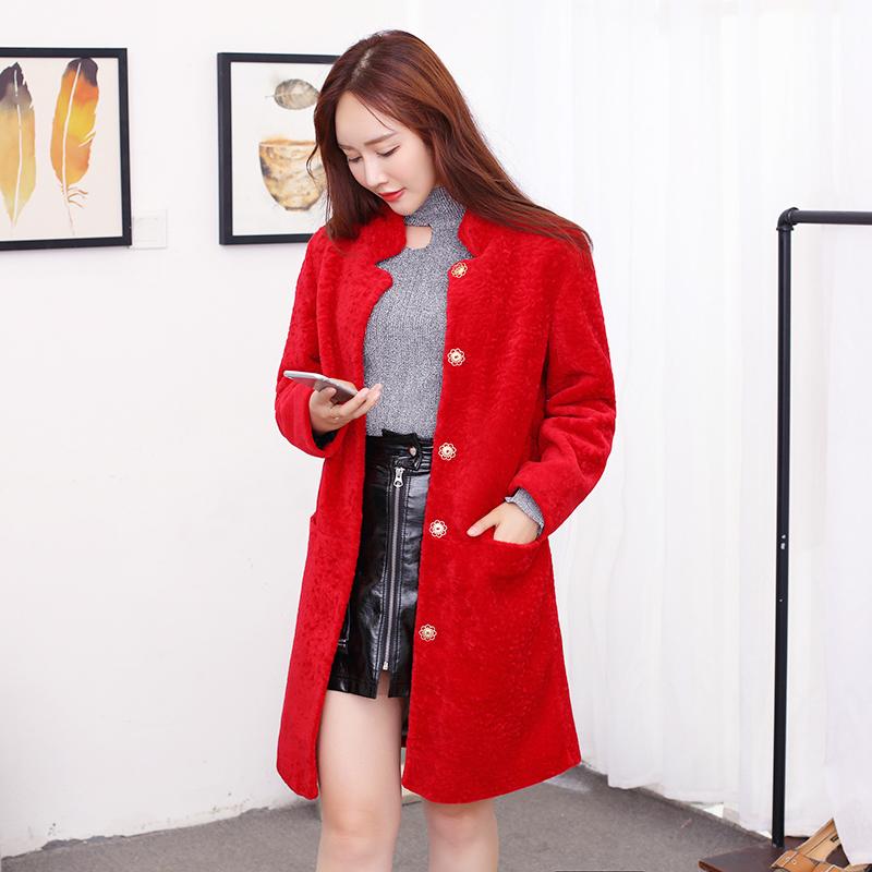 2017 новая коллекция кожа с мехом Хейнинг овец пальто шуба куртка фасон средней длины стиль стоячий воротник Женские волосы