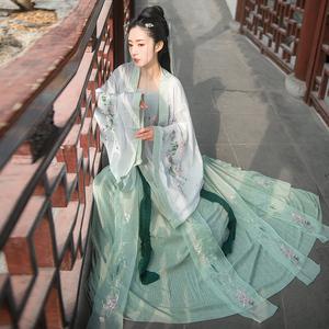 實拍現貨傳統漢服女 重工繡花漢元素對襟上襦齊腰襦裙三件套