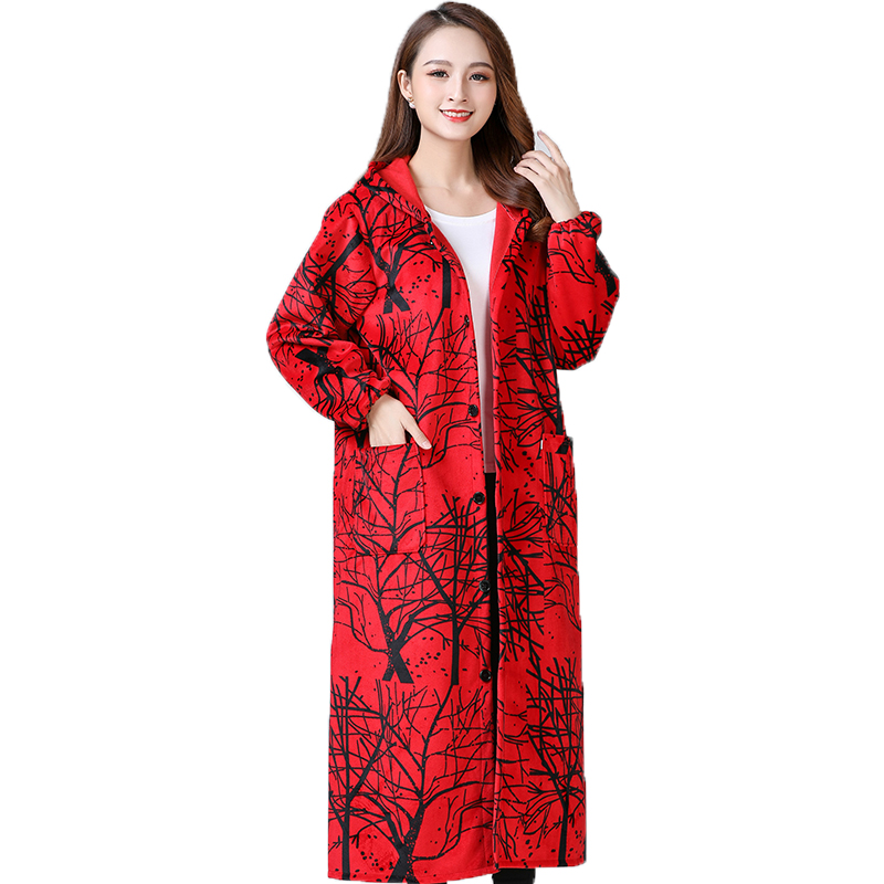 Winter warm long smock coat for female adults plush plush suede coat Long knee length overalls
