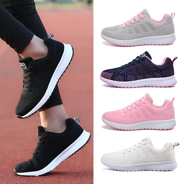 秋季透气网面运动鞋女鞋学生跑步鞋女白色黑色轻便飞织休闲鞋软底