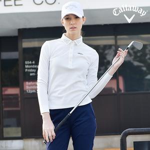 Callaway卡拉威高尔夫服装女士长袖Polo衫休闲运动舒适golf衣服
