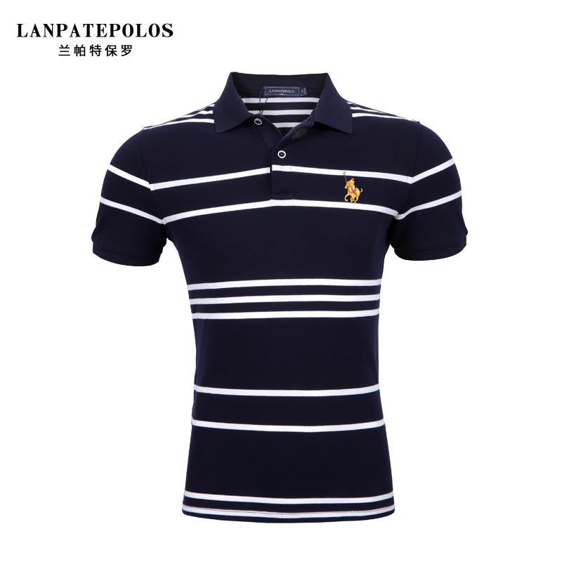兰帕特保罗2021夏季休闲男士短袖t恤条纹polo衫潮流男装上衣