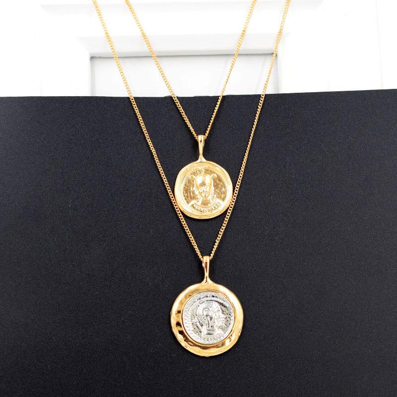 欧美双层复古层次硬币项链抽象浮雕钱币人像网红多层次毛衣链女