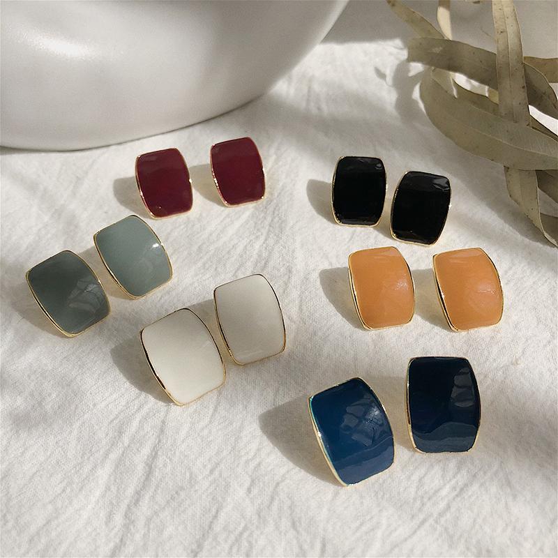 S925银针极简冷淡风凸面方形彩色方形耳钉夏季女气质韩国个性耳环