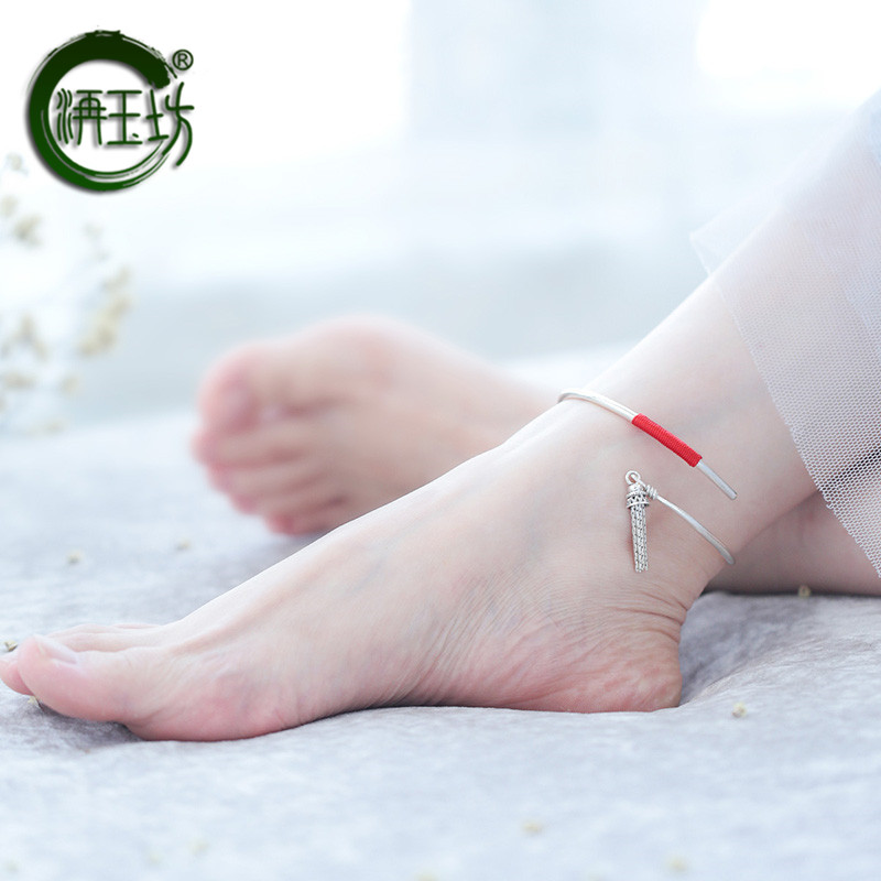 Yufang net Red New Sterling Silver Anklet red rope female 999 full Silver Anklet womb bell tassel silver foot ring tide