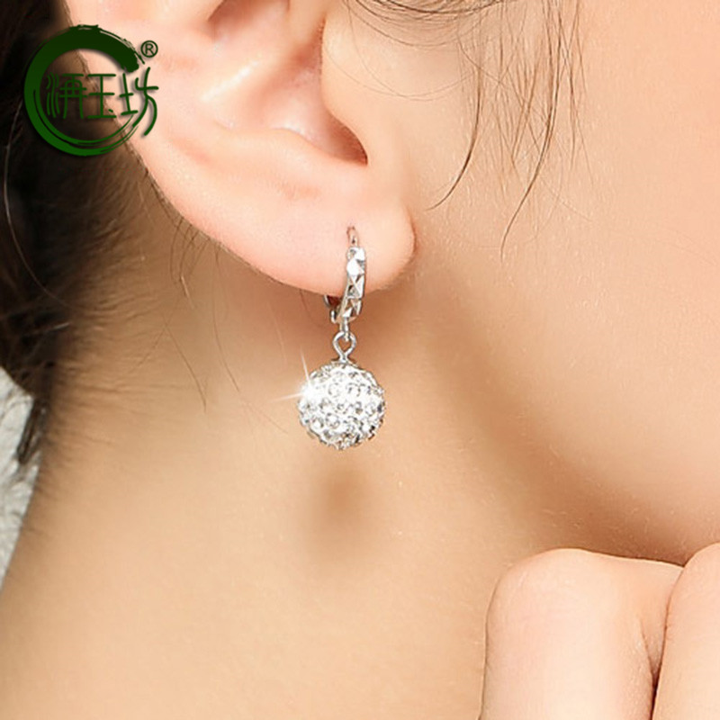 Jueyufang Silver Round Earrings, synthetic crystal earrings, white earrings, Korean simple earrings for Valentines Day gift