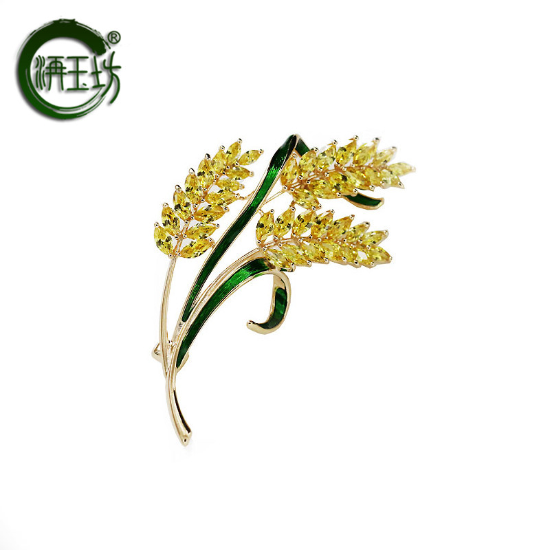 Jiyufang fashion gold wheat spike Brooch corsage atmospheric shirt accessories suit pin Japanese and Korean version versatile neckpin female