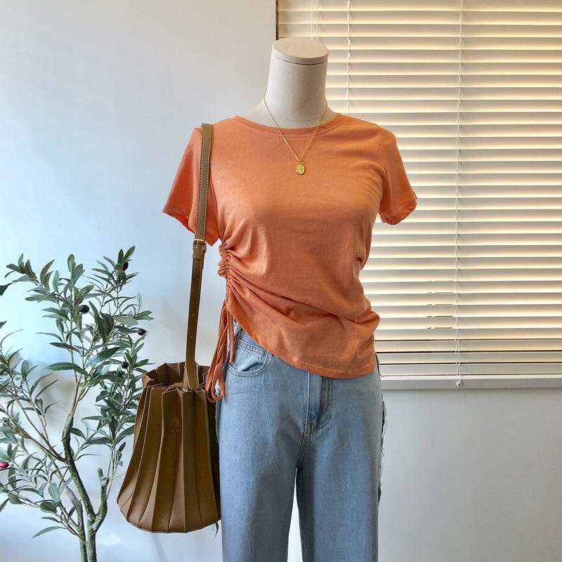 短袖t恤女夏2020新款心机小众设计感不规则收腰修身显瘦体恤上衣