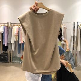 无袖t恤女夏装2020新款韩版ins潮纯色宽松百搭设计感背心外穿上衣