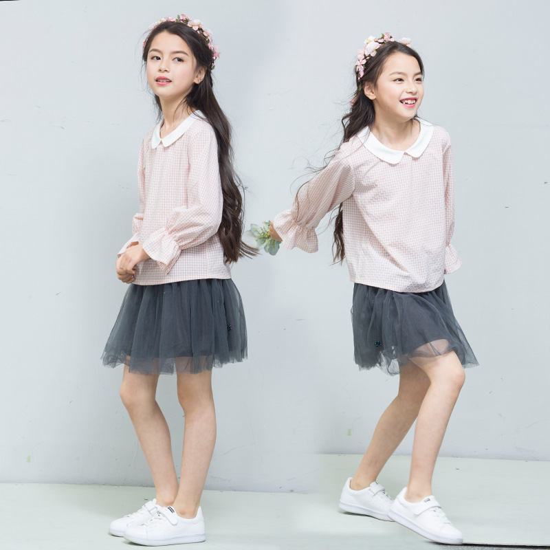 Fannie Bernie kids 2018 spring summer new pink baby collar Pullover Top Ruffle long sleeve girls shirt