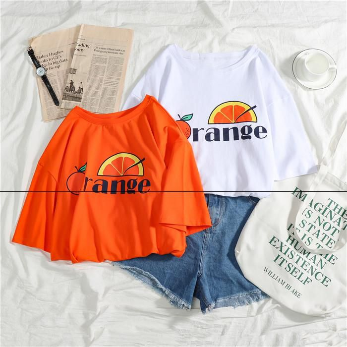 短袖T恤宽松少女古着感港味心机小众泫雅风脏橘色橙色 复古上衣服10-10新券