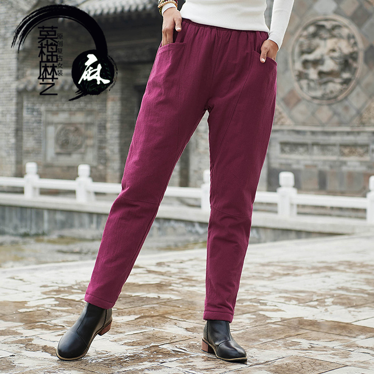2020 new winter cotton hemp retro cotton pants women wear linen thickened cotton sandwich loose warm Harun casual pants