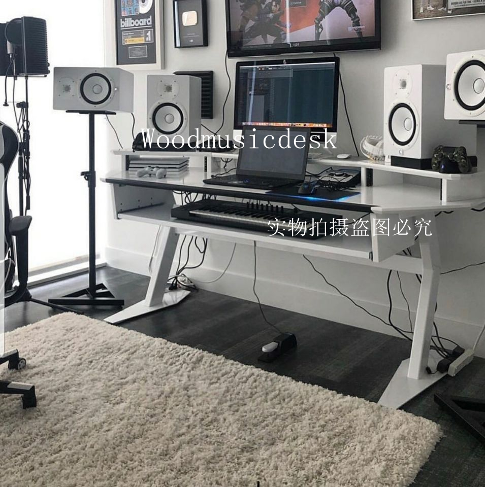 Simple solid wood piano table composition workbench music production table MIDI keyboard table audio table studio table