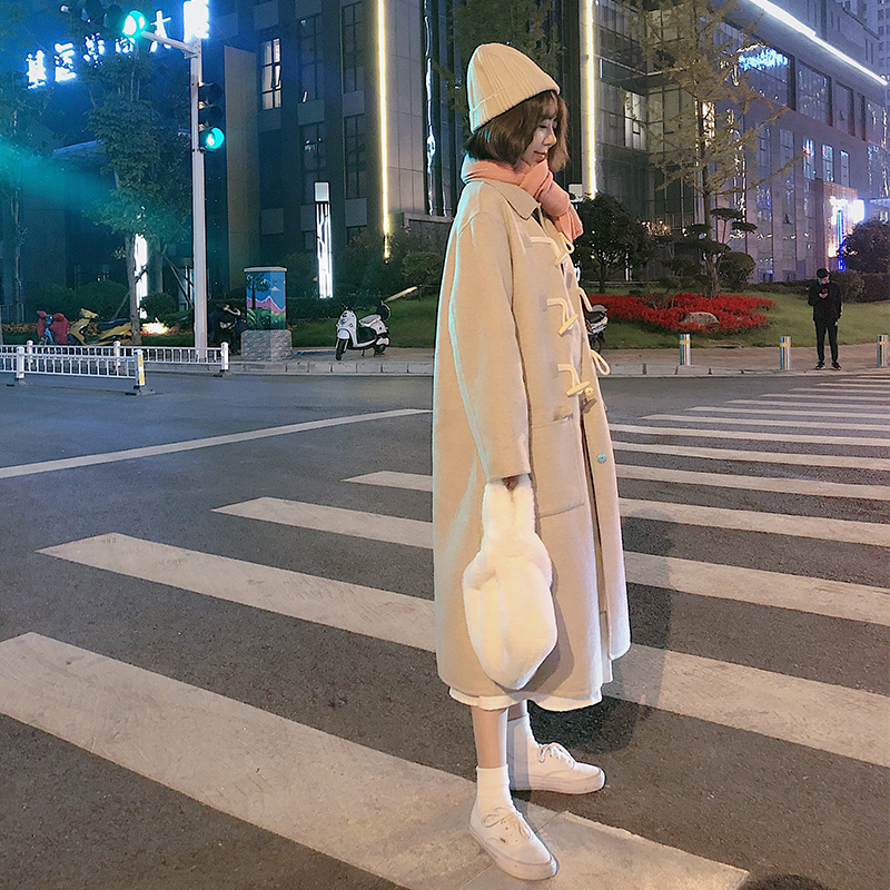 LATCH精选 韩国ins爆款双面羊绒大衣女中长款牛角扣羊毛呢外套女