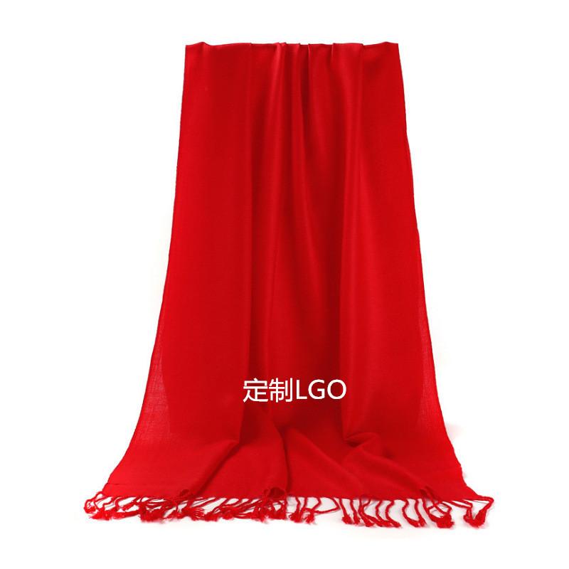 大红色围巾年会活动款纯色围巾纯棉LOGO绣花图案企业活动礼品本命