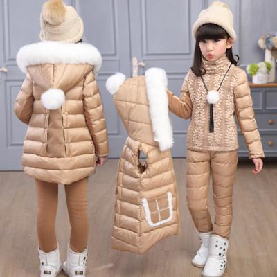 童�b女童羽�q棉服6三件套�b7加厚8�和�9中大童10冬�b棉�\12�q女孩