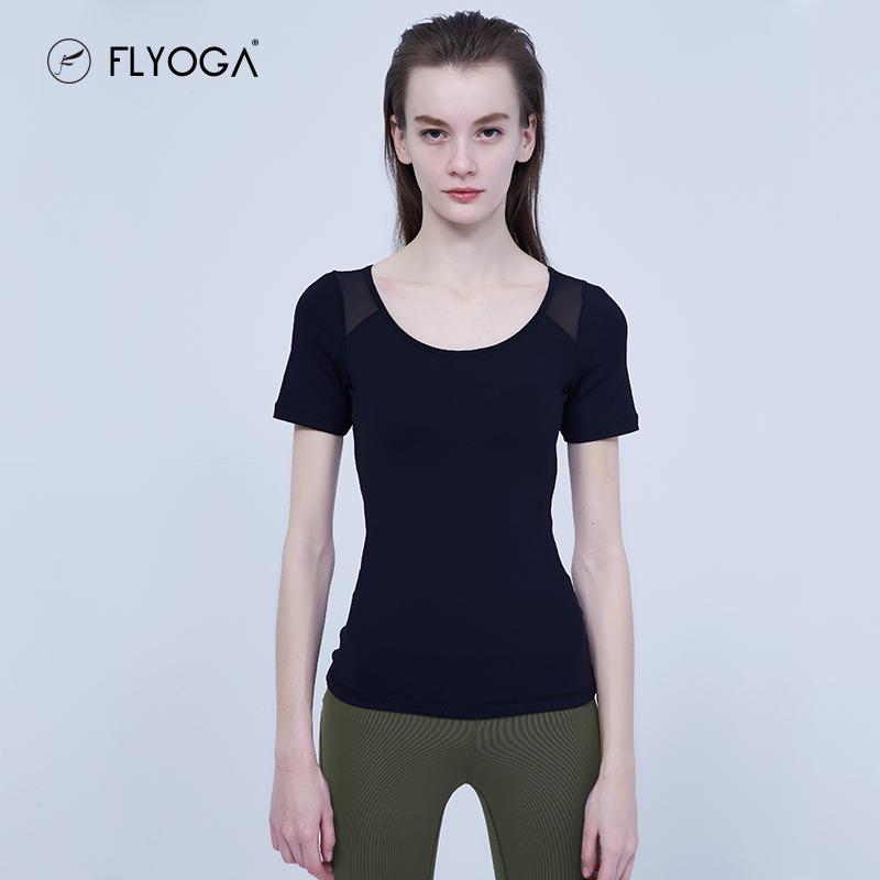 FLYOGA芙莱尔专业瑜伽服短袖含胸垫紧身上衣显瘦健身上衣F79315X,可领取50元天猫优惠券