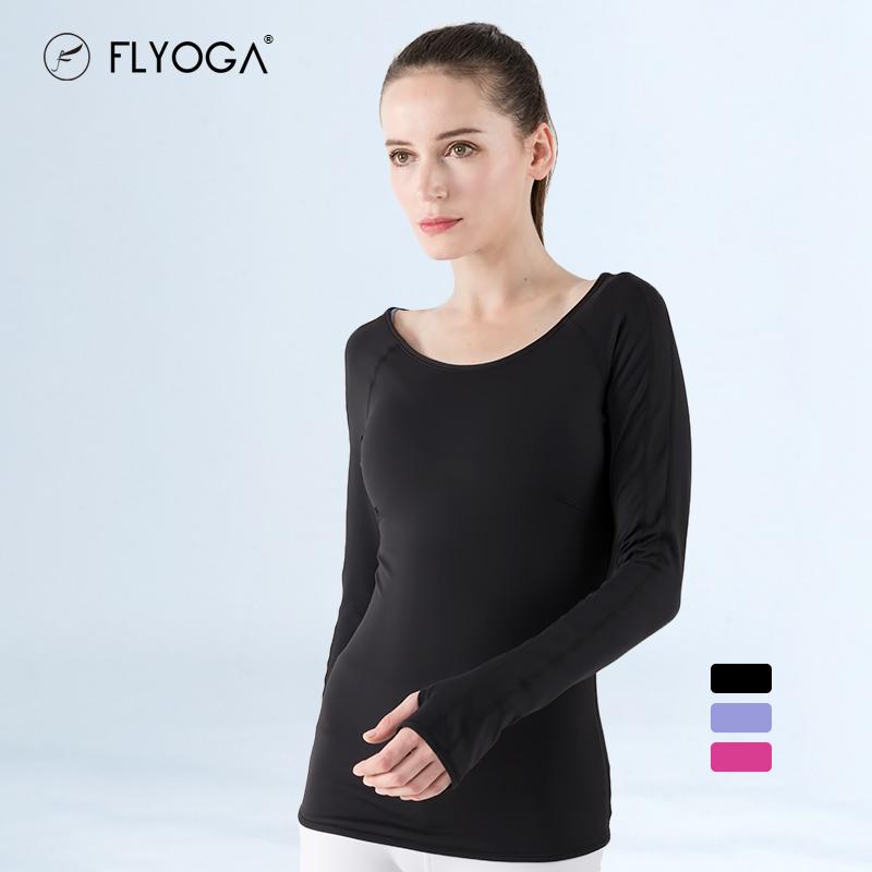 FLYOGA芙莱尔专业瑜伽女服春夏新款上衣健身跑步紧身打底长袖,可领取40元天猫优惠券