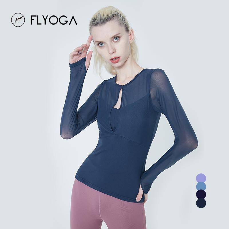 FLYOGA芙莱尔专业瑜伽服女运动服性感透气网纱长袖健身上衣F7646,可领取50元天猫优惠券