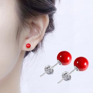 红色耳钉女纯银简约小巧高级感新年款本命年2019新款潮耳环耳饰品