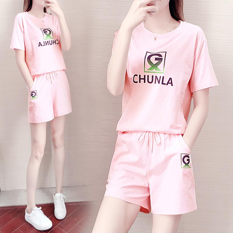 纯拉2021夏季新款女生小清新运动休闲套装女两件套纯棉宽松运动服