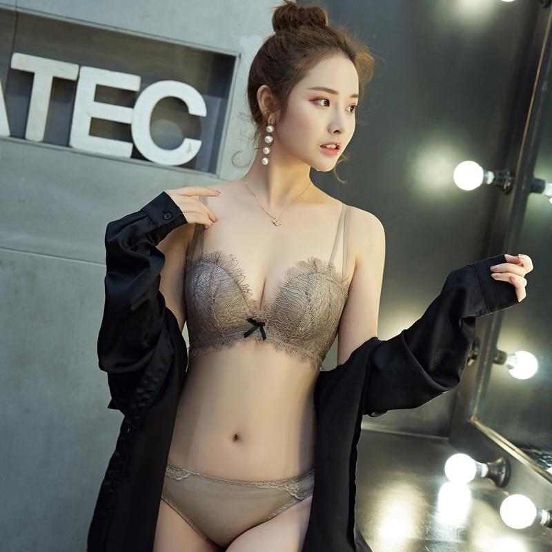蕾丝内衣女士套装少女无钢圈聚拢文胸收副乳防下垂性感加厚款胸罩