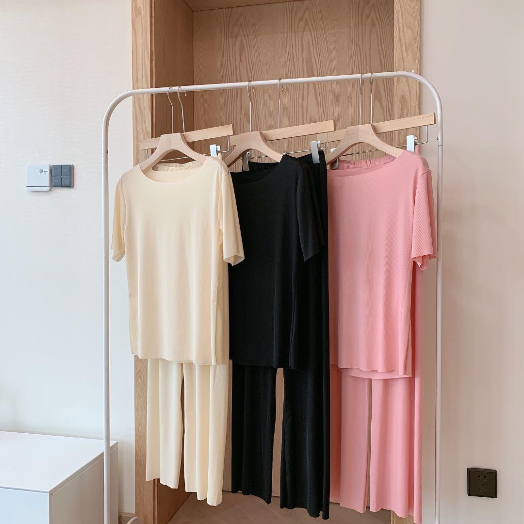 春夏季新品软软衣套装舒适柔软女士家居服套装睡衣短袖螺纹长裤