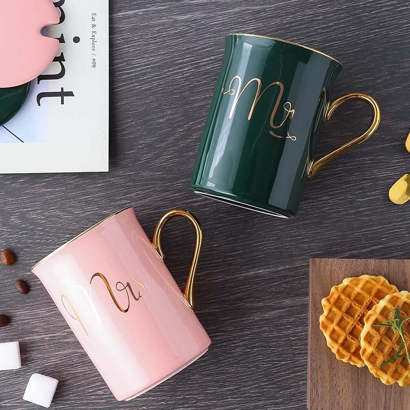 简厨士 北欧简约奢华情侣对杯创意办公牛奶咖啡陶瓷马克杯带盖勺10-25新券