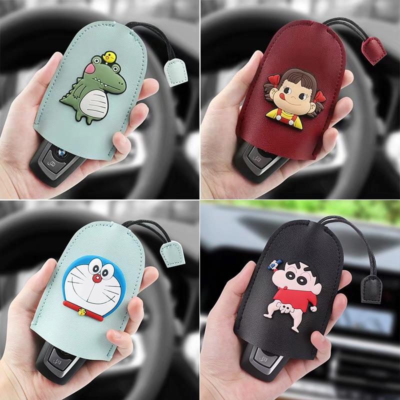 汽车钥匙包创意卡通车载抽拉可爱手工钥匙保护套通用款女宝马大众