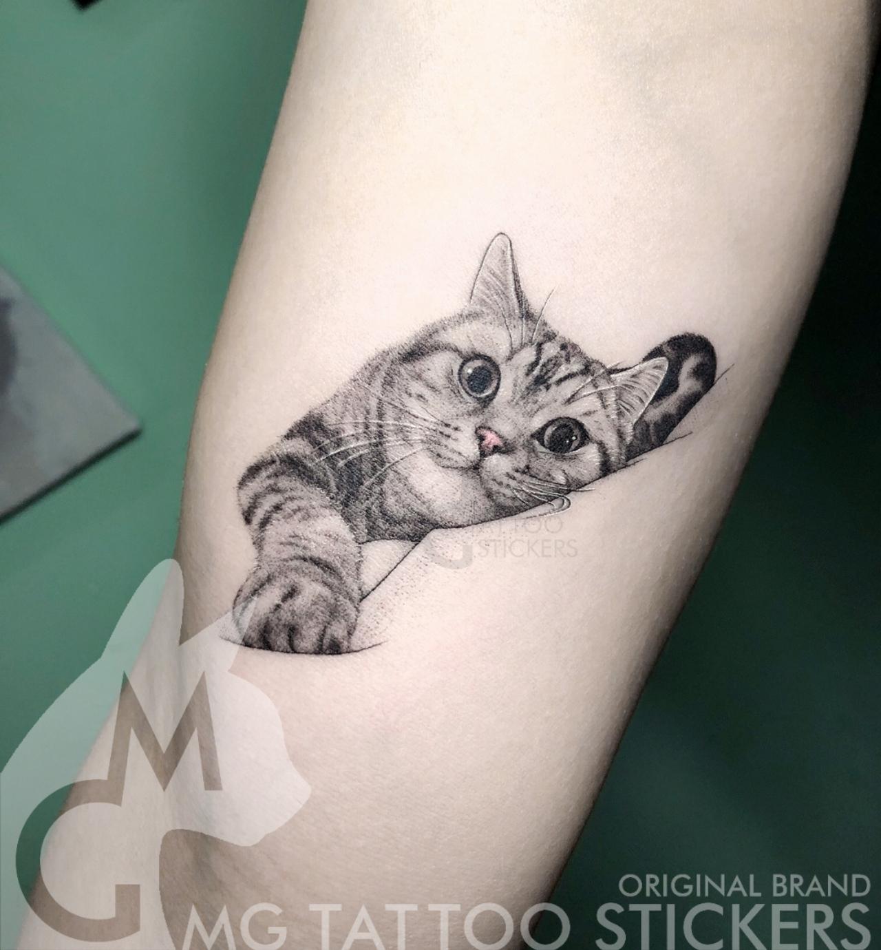 MG纹身贴/手绘TATTOO/日系可爱宠物萌猫咪猫奴动物趣味纹身贴纸(非品牌)